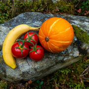 Stillleben von Banane, Tomaten und Kürbis auf einem Stein drapiert
