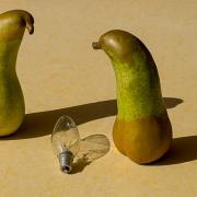 2 Obstbirnen und eine Glühbirne