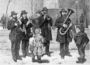 Deutsche Musiker spielen Volksmusik in New York 1876, Gemälde von John George Brown