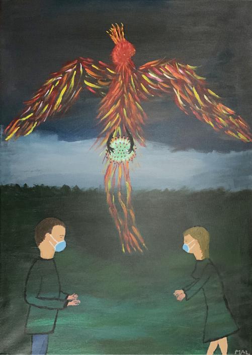 Künstlerischer Beitrag zur 17. Freien Nordberliner Kunstausstellung ( FNK ) des Labsaal Natur und Kultur in Berlin Lübars. Michael Meyer, Hoffnung, Acryl, 50 x 70 cm.