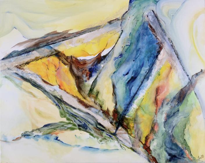 Künstlerischer Beitrag zur 17. Freien Nordberliner Kunstausstellung ( FNK ) des Labsaal Natur und Kultur in Berlin Lübars. Regina Szur, Licht, Acryl, 100 x 80 cm.