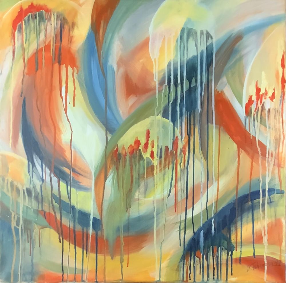 Künstlerischer Beitrag zur 17. Freien Nordberliner Kunstausstellung ( FNK ) des Labsaal Natur und Kultur in Berlin Lübars. Sabine Fuhrmann, Quallen/Lava - Ansichtssache, Acryl, 70 x 70 cm.