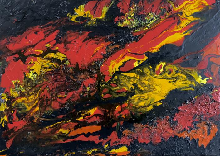 Künstlerischer Beitrag zur 17. Freien Nordberliner Kunstausstellung ( FNK ) des Labsaal Natur und Kultur in Berlin Lübars. Ursula Eckertz-Popp, Inferno, Mixed Media auf Leinwand, 50 x 70 cm.