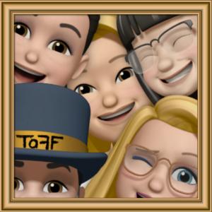 Fünf Mitglieder der Theatergruppe TaFF als Memoji die zusammen aus einem Bilderrahmen schauen, für den Labsaal in Berlin Lübars.