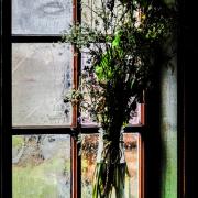 Vor einem Fenster steht in einer Glasvase ein Strauß Wiesenblumen