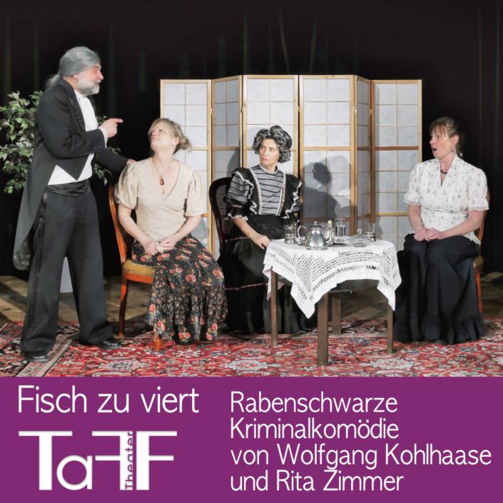 Fisch zu viert, Vorschau Plakat vom TaFF Theater im LabSaal Berlin Lübars und Heiligensee