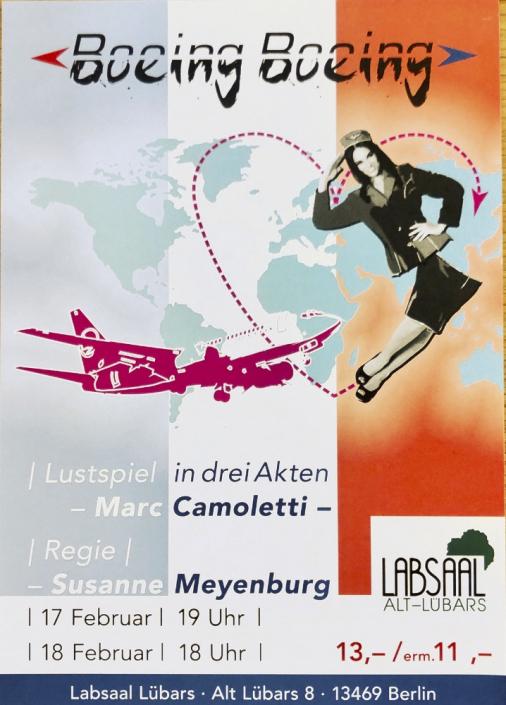 BOEING BOEING von Marc Camoletti, Plakat mit Herz und Stewardess des TaFF Theater Berlin Lübars und Heiligensee.