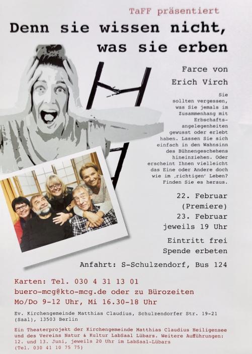 Denn sie wissen nicht was sie erben, Plakat mit Frau die sich die Hände an den Kopf hält und zerbrochener Leiter im Hintergrund des TaFF Theater Berlin Lübars und Heiligensee.